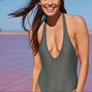 AERIE medium halter one piece bathing suit